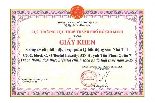 MY HOUSE vinh dự được nhận Giấy khen của Cục thuế TPHCM về thành tích thực hiện tốt chính sách pháp luật thuế năm 2019.