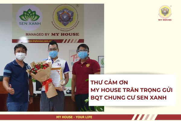 THƯ CẢM ƠN MY HOUSE TRÂN TRỌNG GỬI ĐẾN BQT CHUNG CƯ SEN XANH